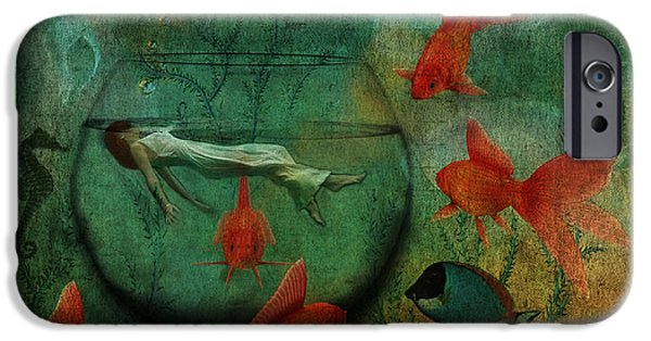 Goldfish Mixed Media iPhone Cases - Living In A Fishbowl iPhone Case by Terry Fleckney