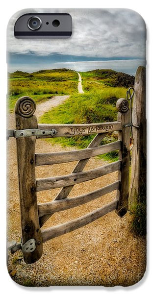 Ruins Digital Art iPhone Cases - Llanddwyn Island Gate iPhone Case by Adrian Evans