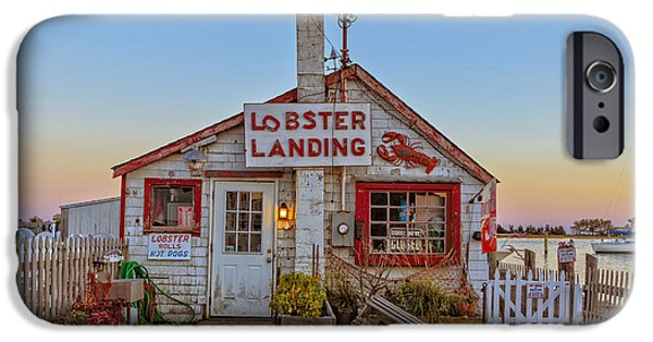 Lobster Shack iPhone Cases - Lobster Landing Sunset iPhone Case by Edward Fielding