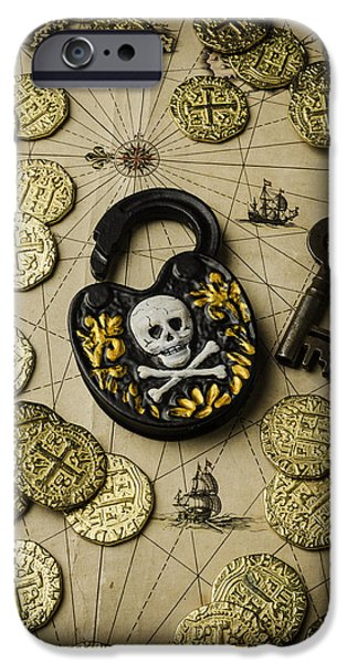 Pirate Ship iPhone Cases - Lock And Gold Coins iPhone Case by Garry Gay