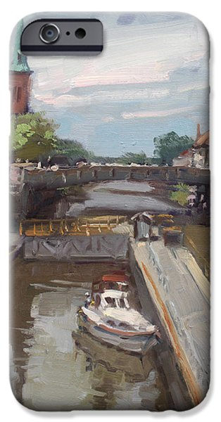 Town iPhone Cases - Lockport Locks iPhone Case by Ylli Haruni