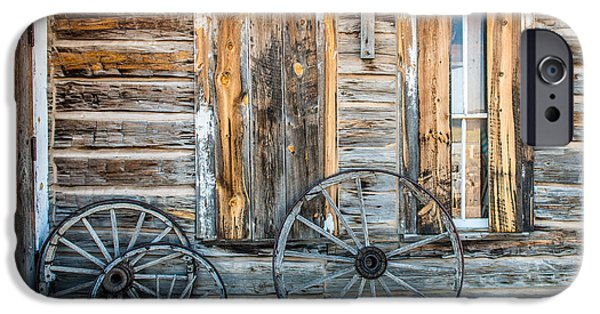 Log Cabin Art iPhone Cases - Log cabin And wagon Wheels iPhone Case by Paul Freidlund