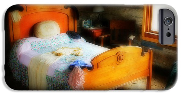 Log Cabin Art iPhone Cases - Log Cabin Bedroom iPhone Case by Perry Webster