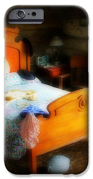 Log Cabin Bedroom iPhone Case by Perry Webster