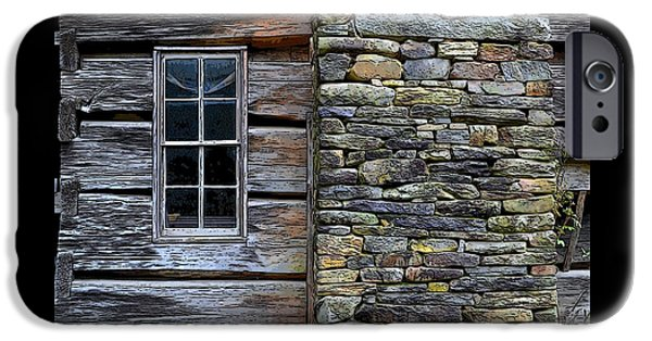 Cabin Window iPhone Cases - Log Cabin Window and Chimney iPhone Case by James Fowler