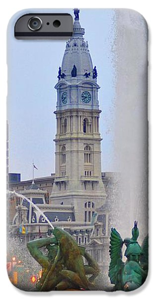 Logan Circle Fountain with City Hall in Backround 4 iPhone Case by Bill Cannon