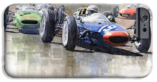 Automotive Paintings iPhone Cases - Lola Lotus Cooper Ferrari Datch GP 1962 iPhone Case by Yuriy  Shevchuk