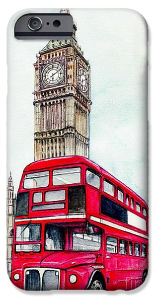 Cities Mixed Media iPhone Cases - London Bus and Big Ben iPhone Case by Morgan Fitzsimons