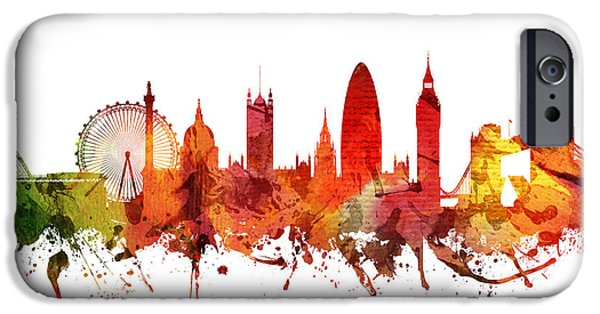 Colour Drawings iPhone Cases - London Cityscape 04 iPhone Case by Aged Pixel