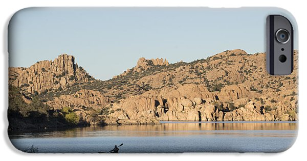 Watson Lake iPhone Cases - Lone Canoe iPhone Case by Laura Pratt