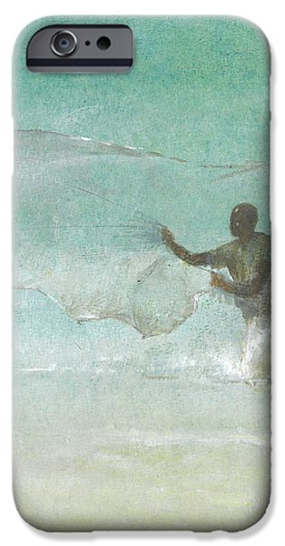 Netting iPhone Cases - Lone Fisherman Five iPhone Case by Lincoln Seligman