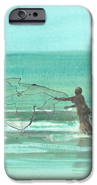 Netting iPhone Cases - Lone Fisherman One iPhone Case by Lincoln Seligman