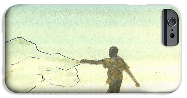 Netting iPhone Cases - Lone Fisherman Six iPhone Case by Lincoln Seligman
