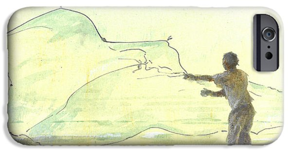 Netting iPhone Cases - Lone Fisherman Two iPhone Case by Lincoln Seligman