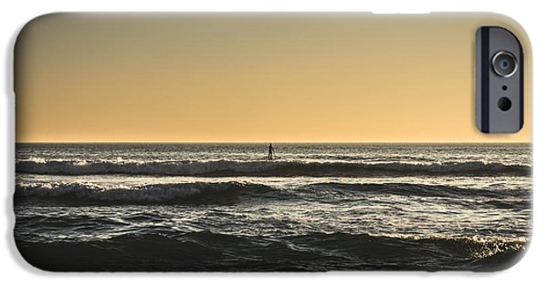 Sea iPhone Cases - Lone Paddler At Sunset iPhone Case by Marco Oliveira