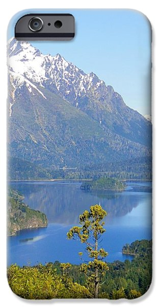 Pines iPhone Cases - Lone Pine by Andes Mountain Lake iPhone Case by Barbie Corbett-Newmin