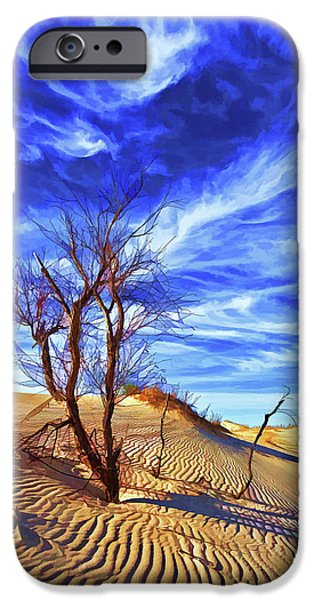 Earth Tones Photographs iPhone Cases - Lone Tree at Sandhills SP iPhone Case by Bill Caldwell -        ABeautifulSky Photography