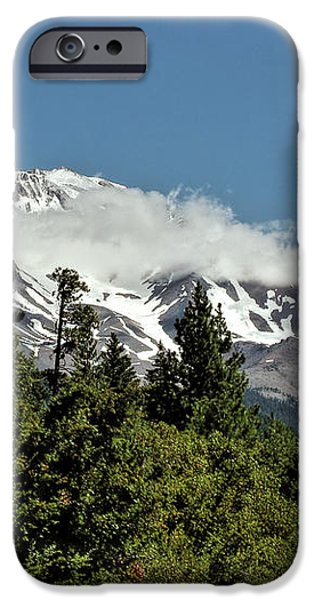 Lonely as God and white as a winter moon - Mount Shasta California iPhone Case by Christine Till