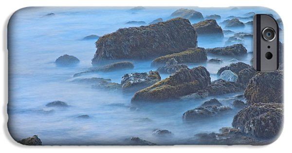 Ocean Sunset iPhone Cases - Long Exposure of Rocks and Waves at Sunset. iPhone Case by Keith Webber Jr