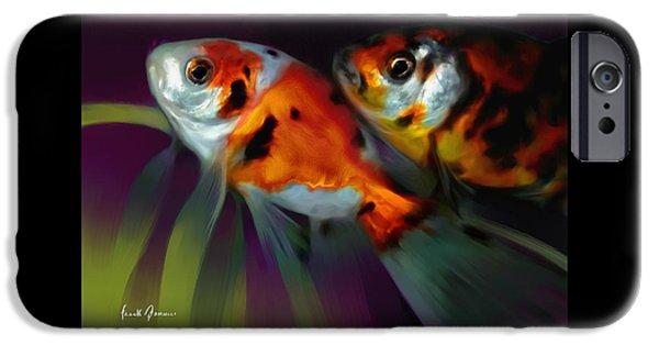 Goldfish Mixed Media iPhone Cases - Long Fins Goldfish iPhone Case by Frank Bonnici