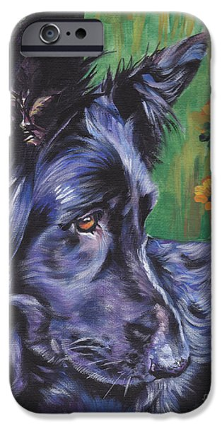 Alsatian iPhone Cases - Long Hair Black German Shepherd iPhone Case by Lee Ann Shepard