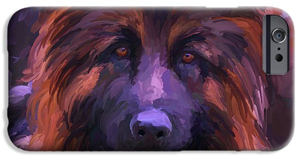 Police Dog iPhone Cases - Long Haired German Shepherd - Square iPhone Case by Jai Johnson