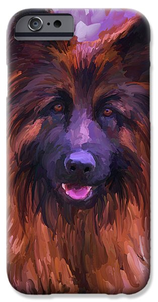 Police Paintings iPhone Cases - Long Haired German Shepherd iPhone Case by Jai Johnson