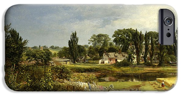 Nature Study Paintings iPhone Cases - Long Island Homestead. Study from Nature iPhone Case by Andrew W Warren