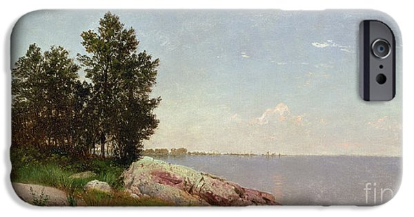Kensett iPhone Cases - Long Island Sound at Darien iPhone Case by John Frederick Kensett