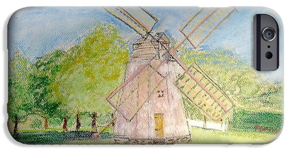 Historic Site Pastels iPhone Cases - Long Island Windmill iPhone Case by Hilary Porado