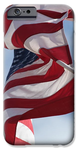 Old Glory iPhone Cases - Long May She Wave iPhone Case by Lauri Novak