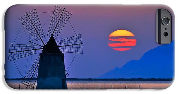 Beach Landscape iPhone Cases - Long Windmill in Violet iPhone Case by Brian Murphy