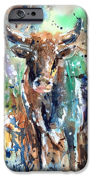 Longhorn Steer iPhone Case by Arline Wagner