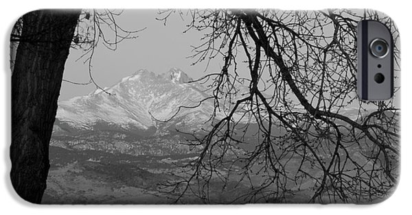 Stock Images iPhone Cases - Longs Peak and Mt. Meeker the Twin Peaks Black and White Photo I iPhone Case by James BO  Insogna
