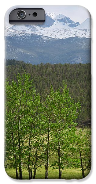 Lady Washington iPhone Cases - Longs Peak from Moraine Park - Spring iPhone Case by Aaron Spong