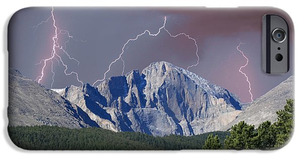 Storm iPhone Cases - Longs Peak Lightning Storm Fine Art Photography Print iPhone Case by James BO  Insogna