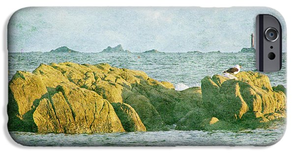 Sea Birds iPhone Cases - Longships and Bishop Rock Lighthouses from Cape Cornwall iPhone Case by Terri  Waters
