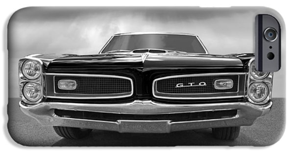 Old Cars iPhone Cases - Look At Me - GTO Black and White iPhone Case by Gill Billington