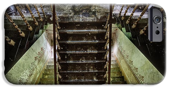Haunted House iPhone Cases - Looking Down The Stairs - Urban Exploration iPhone Case by Dirk Ercken