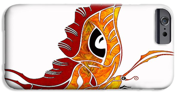 Red Abstract Glass iPhone Cases - Looking Forward Abstract Bliss Butterflies by Omashte iPhone Case by Omaste Witkowski