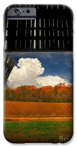 Old Barn iPhone Cases - Looking Out iPhone Case by Lois Bryan
