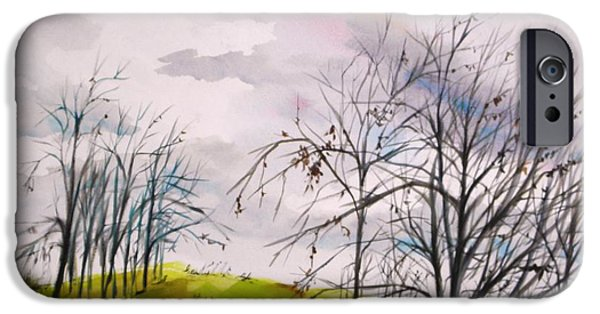 Winter Storm Drawings iPhone Cases - Looking Past to the Changing Sky iPhone Case by John  Williams