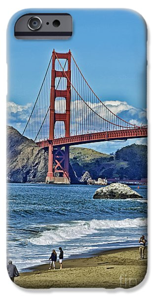 Bay Bridge iPhone Cases - Looking The Golden Gate Bridge Facing towards the North iPhone Case by Jim Fitzpatrick
