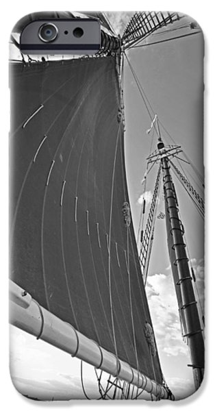 Boston Ma iPhone Cases - Looking up at the sails Boston MA Black and White iPhone Case by Toby McGuire