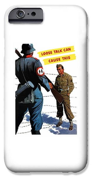 Soldiers Digital iPhone Cases - Loose Talk Can Cause -- WW2 Propaganda iPhone Case by War Is Hell Store