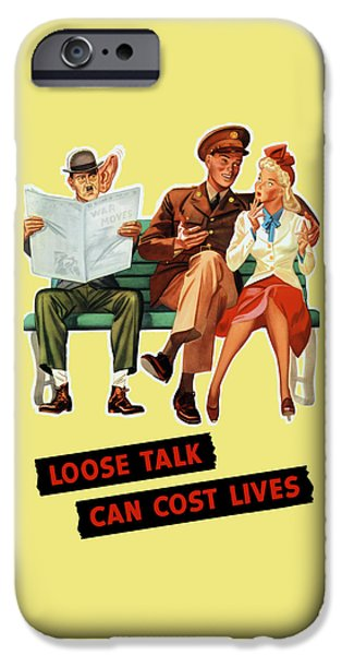 Lips Mixed Media iPhone Cases - Loose Talk Can Cost Lives - World War Two iPhone Case by War Is Hell Store
