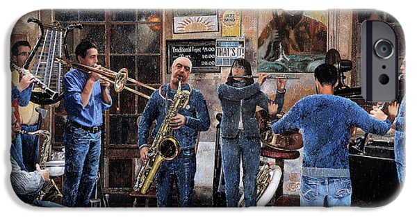Trumpet Paintings iPhone Cases - Lorchestra iPhone Case by Guido Borelli