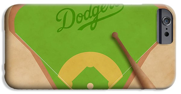 Baseball Glove iPhone Cases - Los Angeles Dodgers Field iPhone Case by Carl Scallop