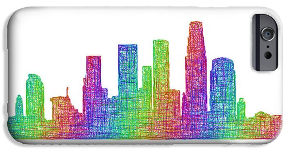 City Scape Drawings iPhone Cases - Los Angeles skyline iPhone Case by David Zydd
