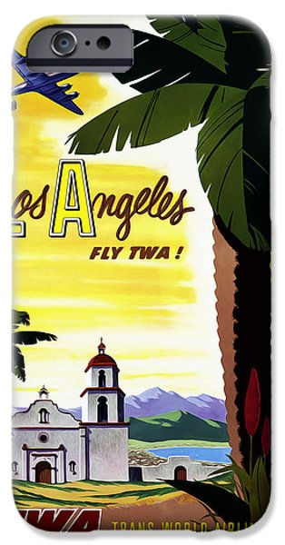 Vintage Travel iPhone Cases - Los Angeles TWA iPhone Case by Mark Rogan
